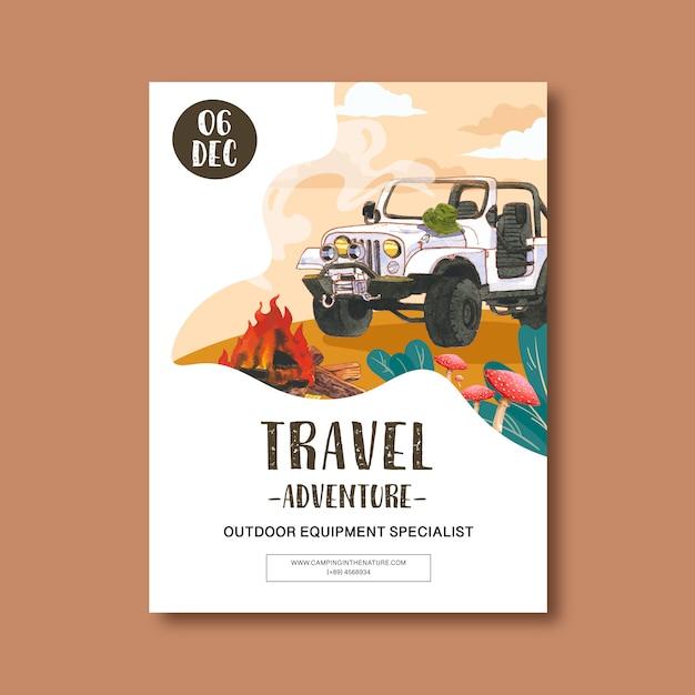 Affiche de camping avec illustration de voiture Vecteur gratuit