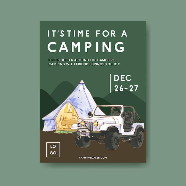 Affiche de camping avec illustrations de tente, voiture et montagne Vecteur gratuit