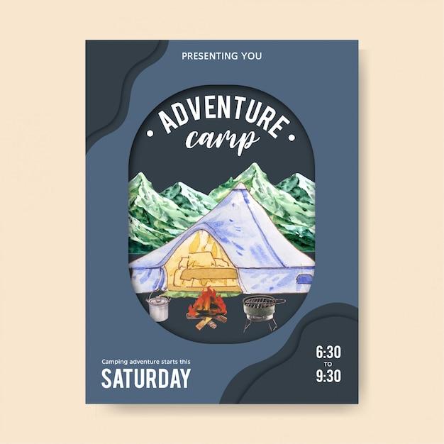 Affiche de camping avec illustrations de tente, voiture, pot et gril Vecteur gratuit