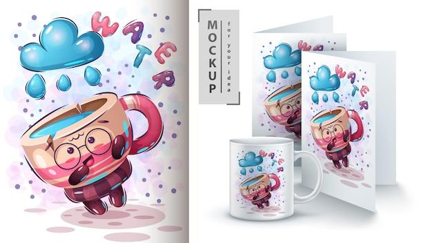 Affiche De Cape Mignonne Et Merchandising Vecteur gratuit
