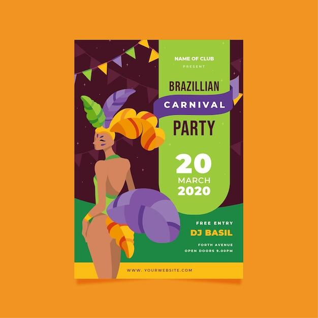 Affiche De Carnaval Brésilien Design Plat Vecteur gratuit