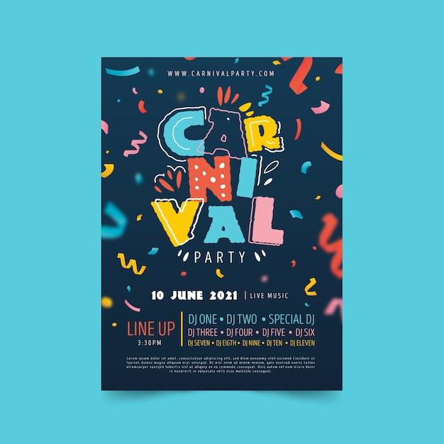 Affiche De Carnaval Coloré Dessiné à La Main Avec Des Rubans Vecteur gratuit