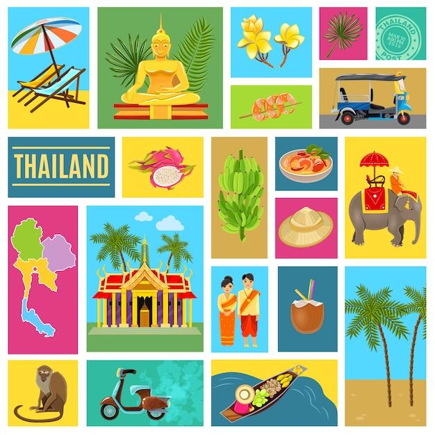 Affiche carrelée de thaïlande Vecteur gratuit