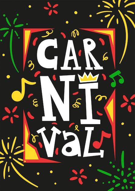 Affiche De Carte D'invitation De Festival Annuel De Carnaval Du Brésil Avec Des Feux D'artifice Colorés Serpentine Illustration Vectorielle Abstraite Noire Vecteur gratuit