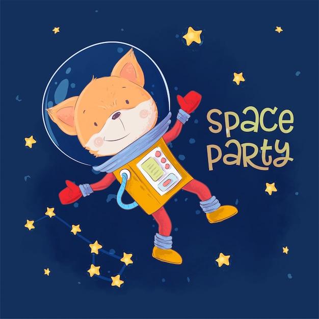 Affiche De Carte Postale Du Renard Astronaute Mignon Dans L'espace Avec Les Constellations Et Les étoiles Dans Le Style De Dessin Animé. Vecteur Premium