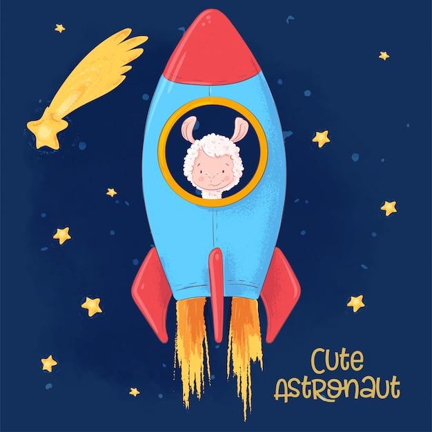 Affiche de carte postale d'un lama mignon sur une fusée. style de bande dessinée. Vecteur Premium