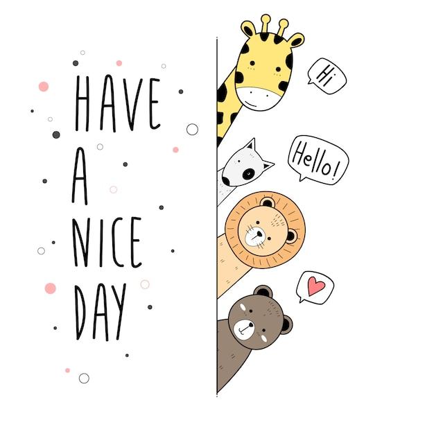 Affiche de cartes de dessin animé animaux mignons doodle wallpaper Vecteur Premium