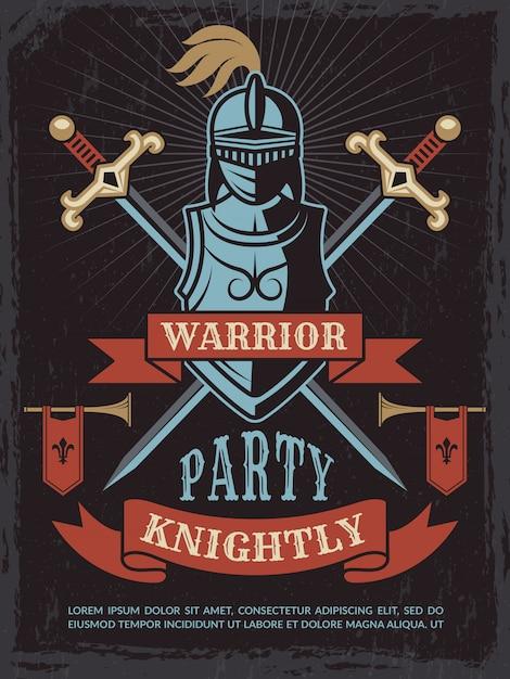 Affiche Avec Casque De Guerrier Médiéval Et épées Vecteur Premium