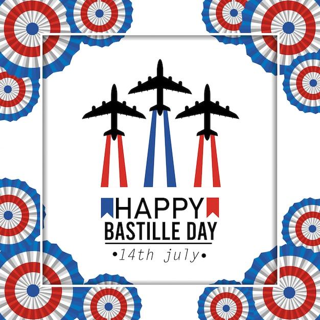 Affiche avec la célébration de l'avion et la décoration de la france Vecteur gratuit