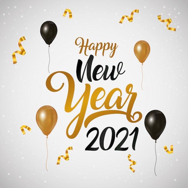 Affiche De Célébration De Bonne Année 2021 Avec Des Ballons D'hélium |  Vecteur Premium