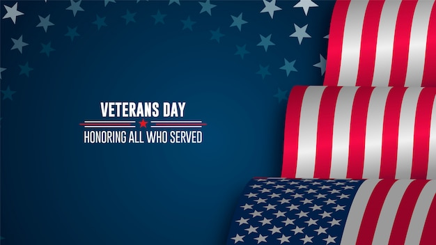 Affiche de célébration avec des étoiles et des rayures. joyeux jour des vétérans Vecteur Premium