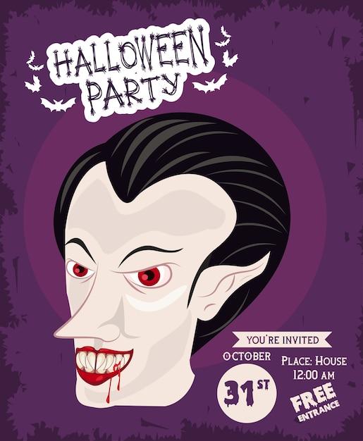 Affiche De Célébration De Fête D'horreur Halloween Avec Conception D'illustration De Vampire Vecteur Premium