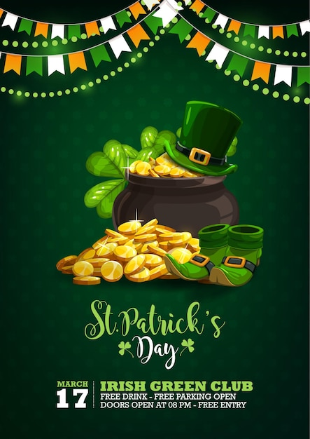 Affiche De Célébration De La Saint Patrick Avec Illustration De Pièces De Monnaie, Chapeaux, Chaussures Et Guirlande Vecteur Premium