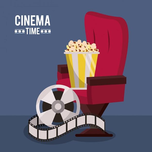 Affiche Avec Chaise De Cinéma Et Bobine De Film Et Maïs Soufflé Vecteur Premium