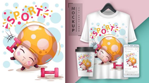 Affiche de champignons sportifs et merchandising Vecteur Premium