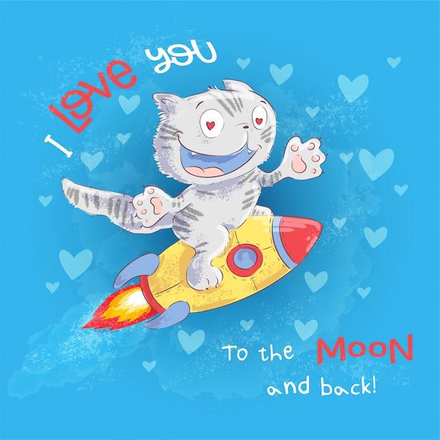 Affiche chat mignon vole sur une fusée. dessin à main levée. style de bande dessinée illustration vectorielle Vecteur Premium