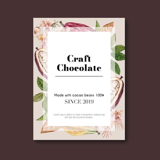 Affiche de chocolat avec des fèves de cacao pour le chocolat artisanal Vecteur gratuit