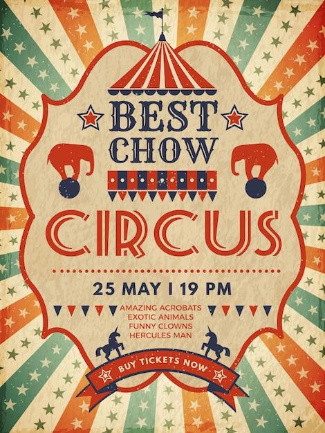 Affiche De Cirque. Invitation Magique De Placard Rétro Pour Le Modèle De Spectacle D'événement De Mascarade De Cirque Vecteur Premium