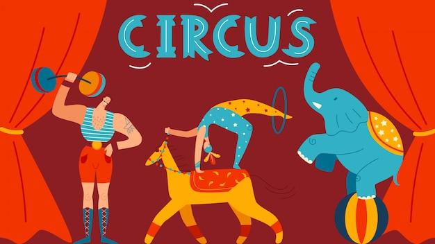 Affiche De Cirque, Personnage Fort Masculin, éléphant, Acrobate Sur Scène, Illustration. Pour Site Web, Carte Postale. Vecteur Premium