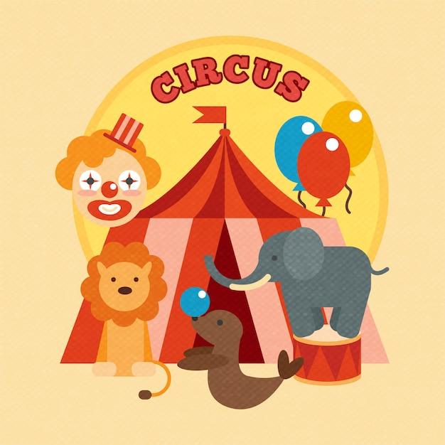 Affiche de cirque plat Vecteur Premium