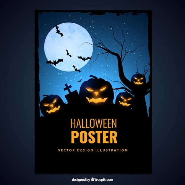Affiche Avec De La Citrouille D'halloween Effrayant Vecteur Premium