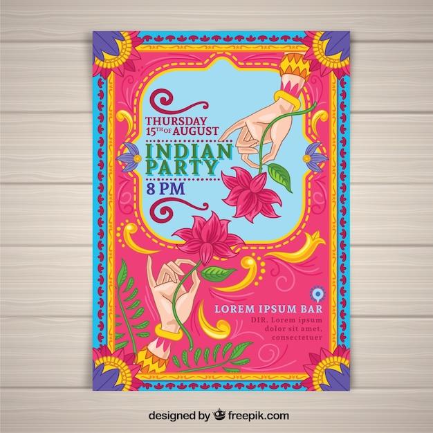 Affiche Coloré Fête De L'indépendance De L'inde Vecteur gratuit