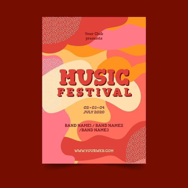 Affiche Colorée Abstraite De Musique Vecteur gratuit