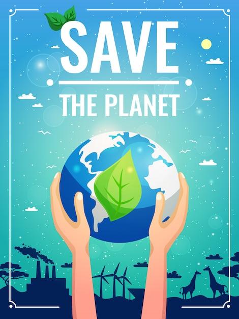 Affiche colorée d'écologie Vecteur gratuit