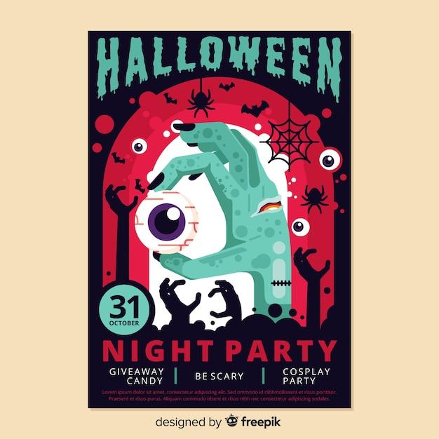 Affiche colorée de halloween au design plat Vecteur gratuit
