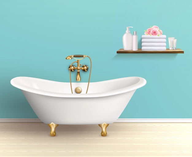 Affiche colorée pour intérieur de salle de bain Vecteur gratuit