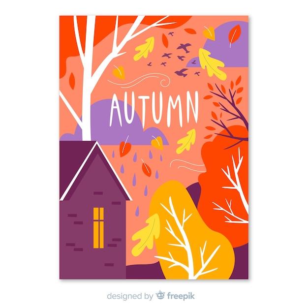 Affiche colorée de la saison d'automne Vecteur gratuit