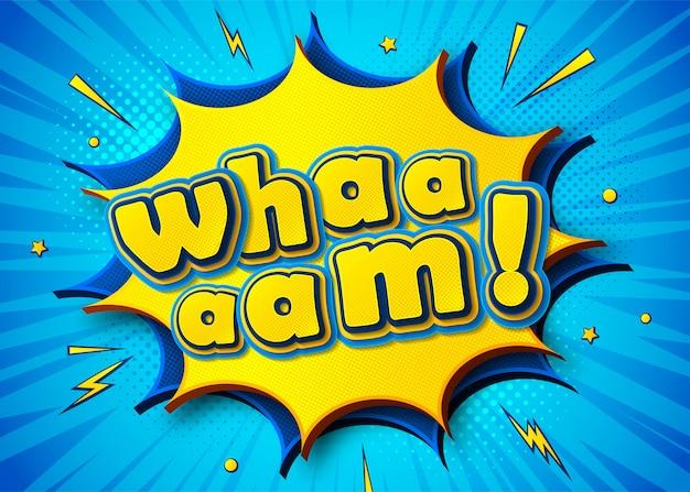 Affiche comique avec lettrage wham dans un style pop art Vecteur Premium