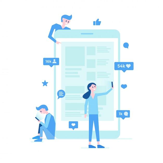 Affiche de communication sur les réseaux sociaux Vecteur Premium