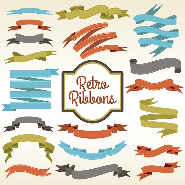 Affiche De Composition De Boutures Rétro Rubans Vecteur gratuit