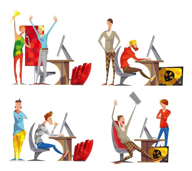 Affiche De Composition Cybersport 4 Icônes Plat Avec Moments Gagnants Esport Concurrents De Jeux Vidéo Vecteur gratuit