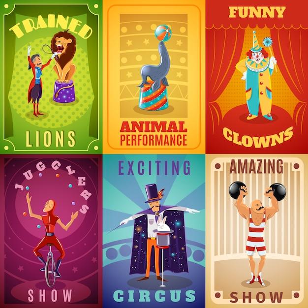 Affiche de composition du cirque 6 bannières plates Vecteur gratuit