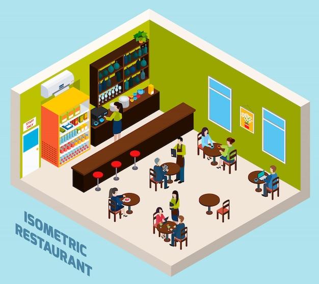 Affiche de composition isométrique intérieure de restaurant bar Vecteur gratuit