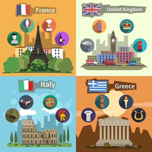 Affiche de composition plate de monuments historiques Vecteur gratuit