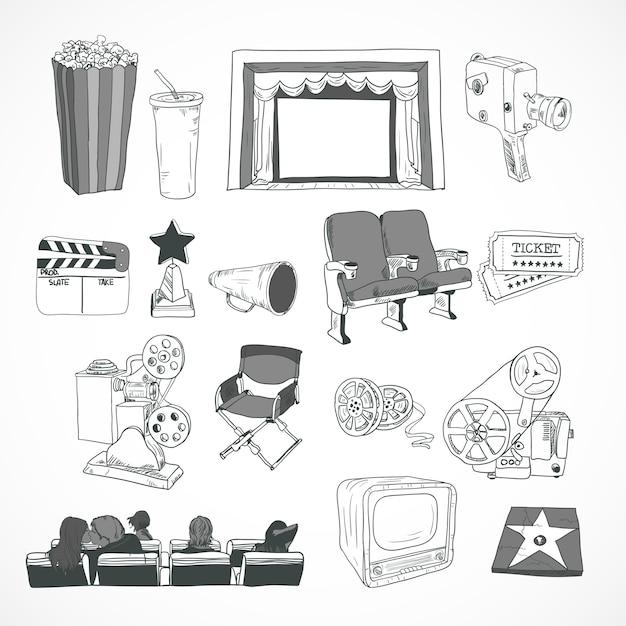 Affiche de concept de cinéma vintage Vecteur Premium