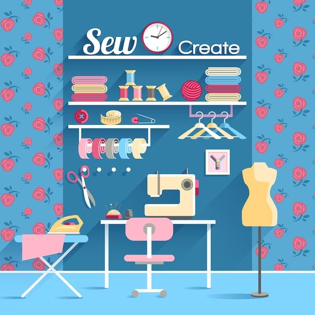 Affiche de concept de salle de couture Vecteur gratuit