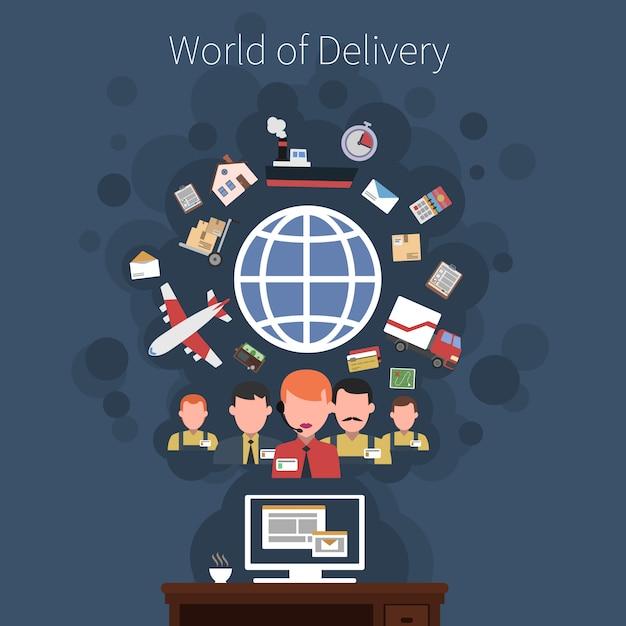 Affiche de concept de transport logistique Vecteur gratuit