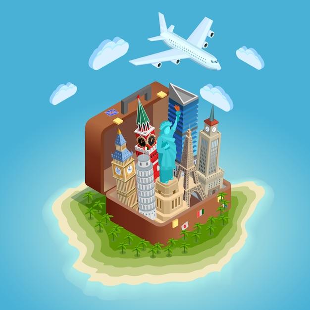 Affiche de concept de voyage avec des points de repère Vecteur gratuit