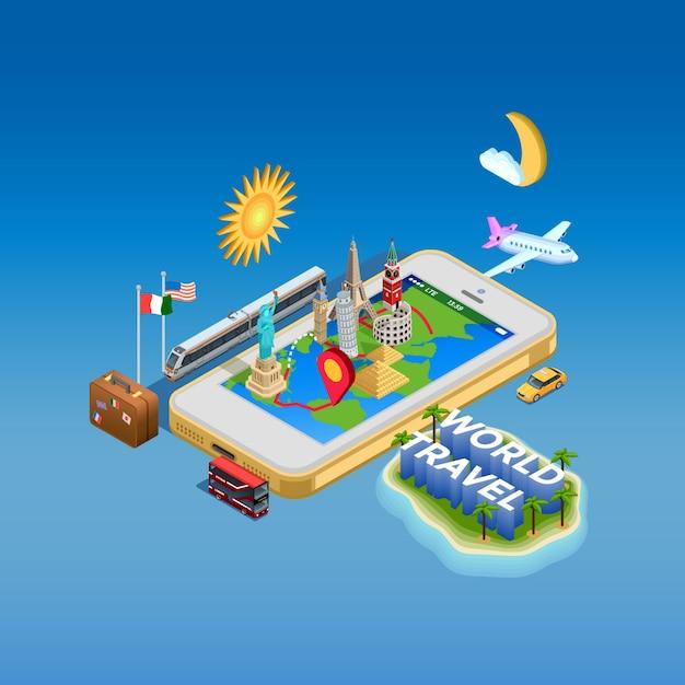 Affiche de concept de voyage et de points de repère Vecteur gratuit