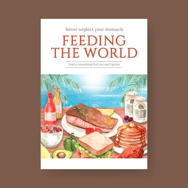 Affiche Avec La Conception De Concept De La Journée Mondiale De L'alimentation Pour La Publicité Et L'aquarelle De Dépliant Vecteur gratuit
