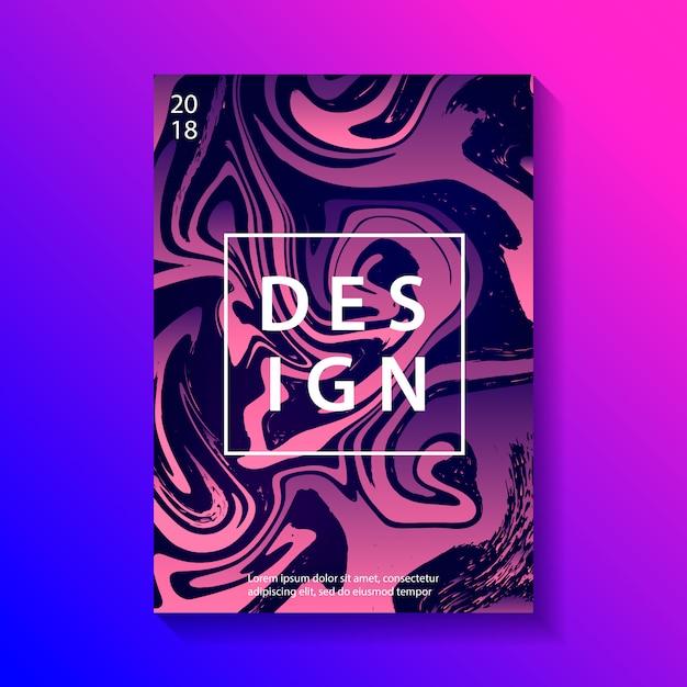 Affiche de conception créative avec marbrure. Vecteur Premium