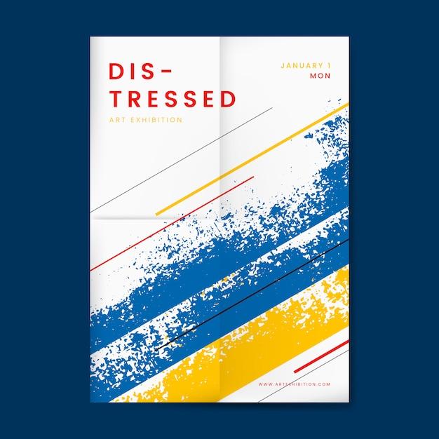 Affiche de conception en détresse abstraite Vecteur gratuit