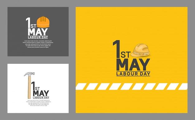 Affiche de conception de vecteur de la fête du travail Vecteur Premium