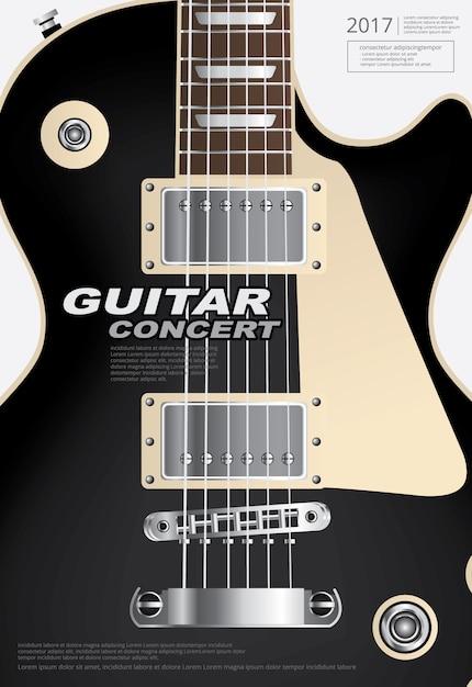 Affiche de concert de guitare Vecteur Premium