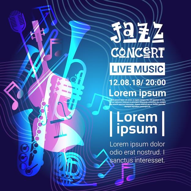 Affiche de concert de musique de festival de jazz Vecteur Premium
