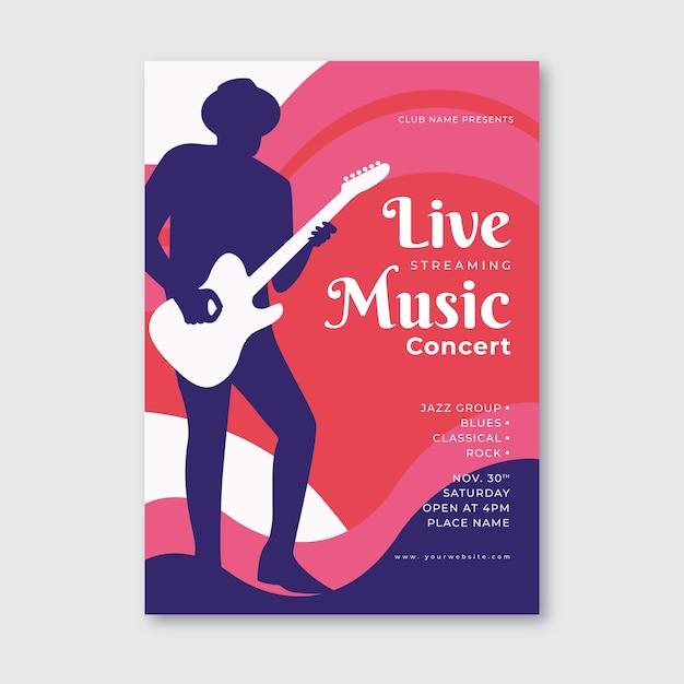 Affiche De Concert De Musique En Streaming En Direct Vecteur gratuit